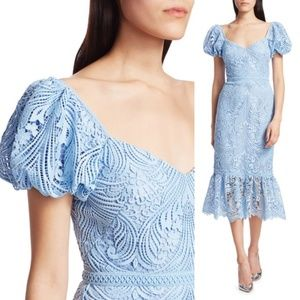 ML Monique Lhuillier Lace Puff-Sleeve Midi Dress